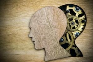 Brain model made from rusty metal gears